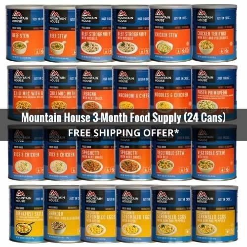 3-Month Mountain House Cans Emergency Food Supply 24 Cans